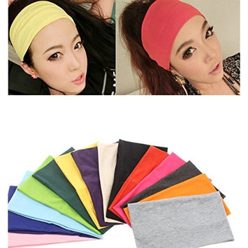 Ewandastore Candy Color Women 80s ElasticTurban Twist Headband Head Wrap Twisted Knotted Soft Yoga Sports Headbands Cross Knot Hair Bands