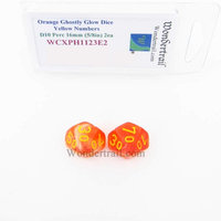Wondertrail Products Orange Ghostly Glow Dice with Yellow Numbers Tens D10 16mm (5/8in) Pack of 2 Wondertrail