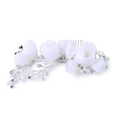 Kanrome White Yarn Flower Hair Combs Fashion Women Headpiece for Wedding