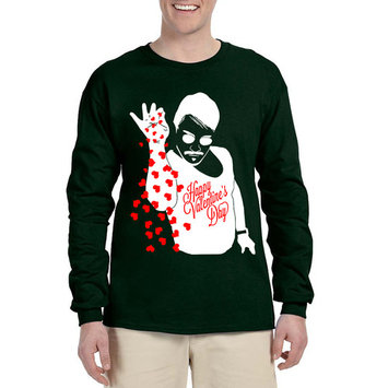 Allntrends Men's Long Sleeve Salt Bae Hearts Happy Valentines Day Love Gift (XL, Forest Green)