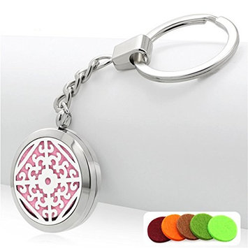 Aromatherapy Essential Oil Diffuser Stainless Steel Hollow Floral Keychain Perfume Locket Key Ring,10 Multi-Pads