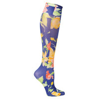 Celeste Stein Women's Mild Compression Knee High Stockings - Navy Floral