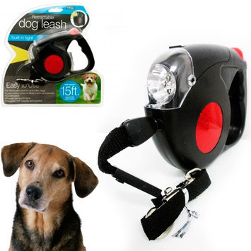 Atb Retractable Dog Leash Black Automatic 15 Feet Long 4 LED Lights Strap Rope New