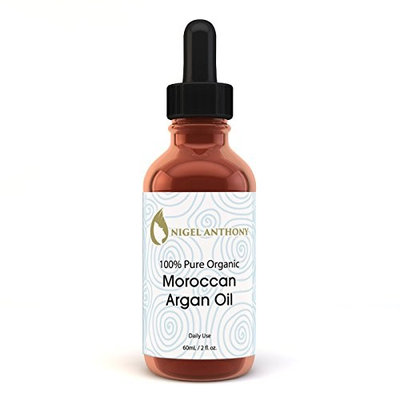 Nigel Anthony 100% Certified Pure ORGANIC MOROCCAN ARGAN OIL 2 Oz – Natural Vitamin E Care for Wrinkles, Face, Skin, Nails, Scalp & Hair Moisturizer for Men & Women