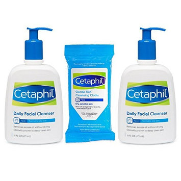 Cetaphil Daily Facial Cleanser Combo Twin Pack with 10 count Facial Wipes for Normal To Oily Skin, 16.0 Ounce, 3 Count