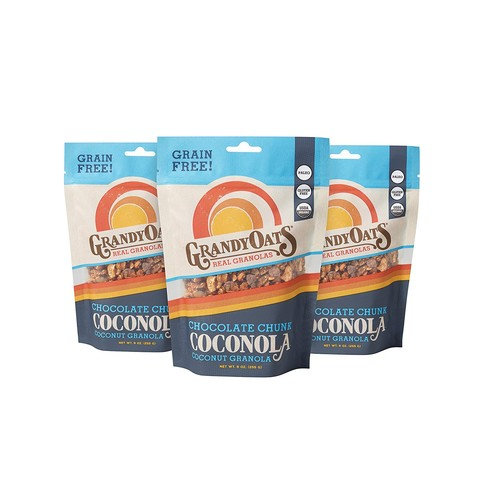 GrandyOats Organic Grain Free Coconola Coconut Granola, Chocolate Chunk, 9 oz, 3 Count [Chocolate Chunk Coconola]