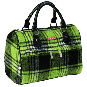 Sachi Green Plaid Flannel Speed Style Insulated Lunch Bag