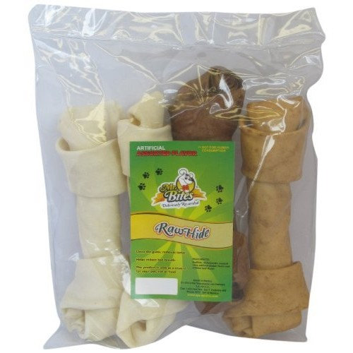 Mr Bites 9-Inch Rawhide Bone for Dogs, Assorted Flavor, 4-Pack