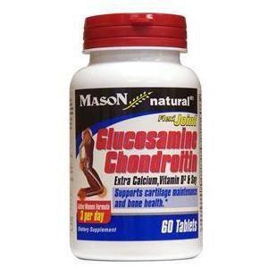 Mason Medical Glucosamine Chondroitin Plus Calcium Vitamin D & Soy Tab Bottle of 60, 2 Pack