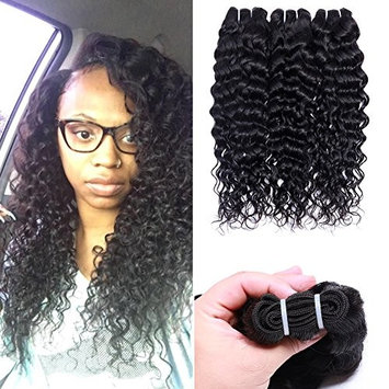 Water Wave Human Hair 3 Bundles Virgin Brazilian Hair 22 24 26 Inch Curly Human Hair Weave Water Wave Hair Bundles Natural Black Color