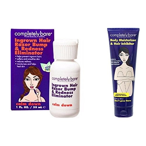 Completely Bare Calm Down Ingrown Hair, Razor Bump, Redness Eliminator And Don't Grow There Body Moisturizer & Hair Inhibitor Set! Eliminate Redness And Razor Bumps And Slow Down Future Hair Growth!