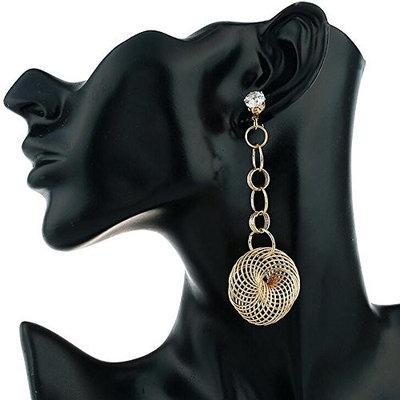 Missgrace Retro National Style Hollow Leaves Gem Water Drops Tassel Earrings