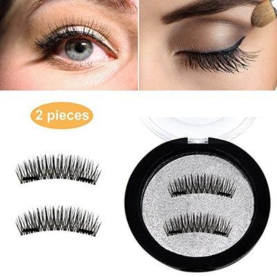 Dual Magnetic False Eyelashes, ACCLOVE Newest 3D Reusable False Eyelashes,No Glue 1 pair (2 pieces) , for Natural Natural (Black )