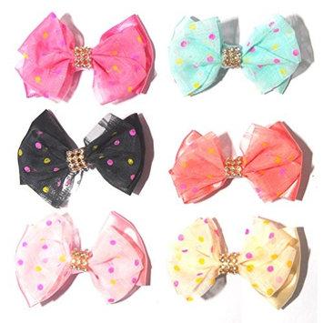 Luxxii Fancy Rhinestone Colorful Polka Dot Bowknot Hairpin Metal Clip
