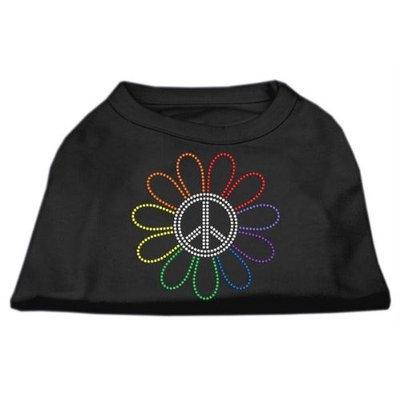 Mirage Pet Products 5269 MDBK Rhinestone Rainbow Flower Peace Sign Shirts Black M 12