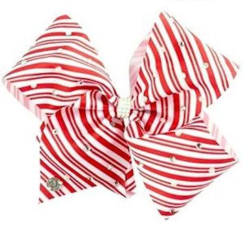 JoJo Siwa Large Cheer Hair Bow (Candy Cane Striped)