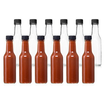 24 Pack - 5 Oz Empty Clear Glass Hot Sauce Bottles with Black Caps and Drip Dispensing Tops, By California Home Goods