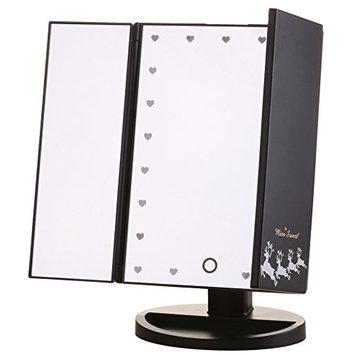 Miss Sweet Lighted Makeup Mirror Table Mirror Trifold Vanity Mirror (Z Black)