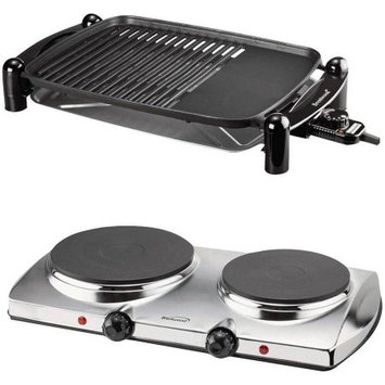 Brentwood TS-640 Indoor Electric BBQ Grill and Brentwood TS-372 1440W Electric Double Hot Plate