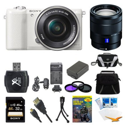 Sony a5100 Mirrorless Camera w/ 16-50mm and 16-70mm Lens White Bundle