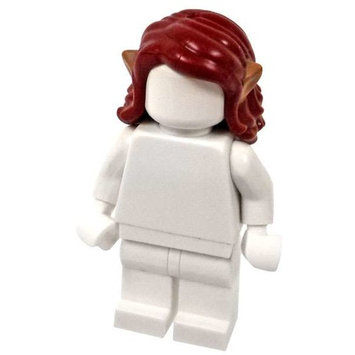LEGO Dark Red Hair with Yellow Tips and Elve Ears Loose Hair