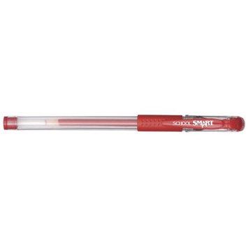 School Smart 1570503 0.7mm Pen Grip Medium Gel Stick Red - Pack of 12