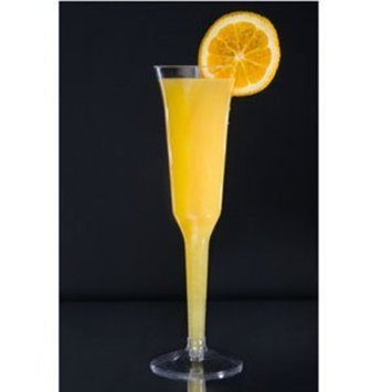 80 Count Disposable Champagne Glass 5 oz Plastic Clear 1-Piece Flute w/ FDL Party Picks