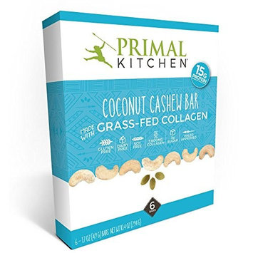 Primal Kitchen - Coconut Cashew Collagen Protein Bars, 15 Grams of Protein, Paleo Approved (Pack of 6, 1.7 oz each)
