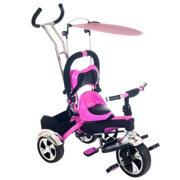 Trademark Global Llc Tricycle Stroller Bike, 3-1 Stroller with Removable Canopy and Stroller Organizer by Hey! Play, Ride on Toys for Boys and Girls, 1 - 5 Year Old, Pink
