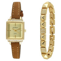 Peugeot Women's Gold Petite Faceted Crystal Watch with Matching Pyramid Bracelet Gift Set - Gold/Brown