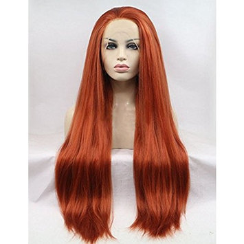 Light Yaki Lace Front Synthetic Wigs For Women Copper Red Long Straight Full Wig Heat Resistant Fiber Hair Half Hand Tied 24 inches