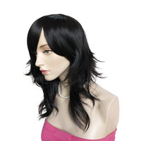 Namecute Black Layered Wig Synthetic Full Capless Wigs Long Straight Costume Anime Wig +Free Wig Cap