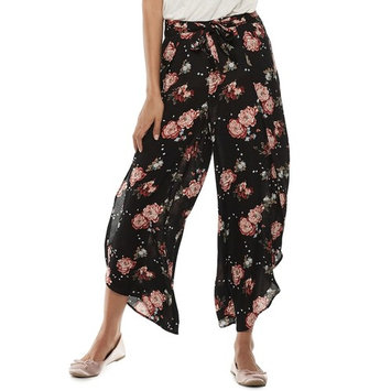 Juniors' American Rag High-Waisted Belted Floral Soft Pants