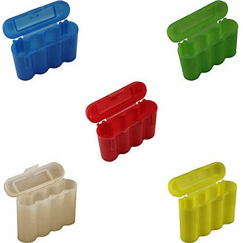 25 Brand New AA/AAA / CR123A Battery Holder Storage Cases 5 White 5 Blue 5 Red 5 Green and 5 Yellow