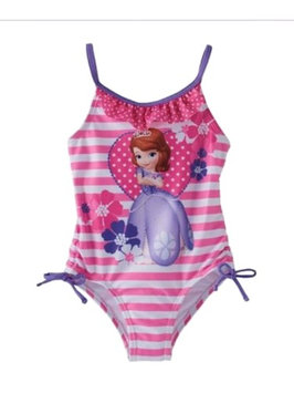 Disney Toddler Girls 1 PC Pink Striped Sofia The First Swim Suit Swimming 2T