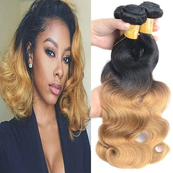 Black Rose T1B 27 Black to Blonde Brazilian Body Wave Human Hair Weaves Pre Colored Ombre Virgin Hair 1 Bundle 100G Thick Full Human Hair Weaving Extensions 1B/27 Color 14inch []