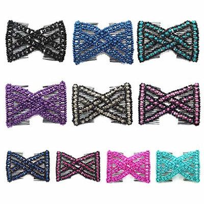 ForHe Elastic Double Combs with EZ Beaded Hair Clips, Hair Holder/Ez Comb Women Hair Accessories - Color Random
