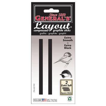 General Pencil Company General Pencil 130360 Generals Layout Compressed Graphite Sticks 2-Pkg