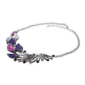 THZY Elegant Women Lady Purple Peacock Enamel Bib Necklace Stud Earrings Set