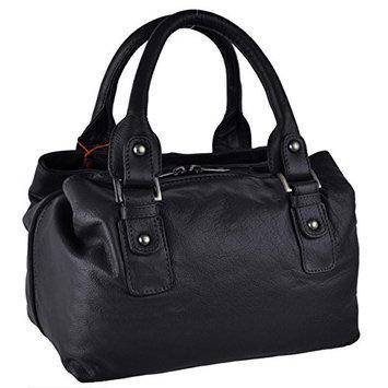Ladies Compact LEATHER Bucket Style Handbag by Island BAG Classic Spacious
