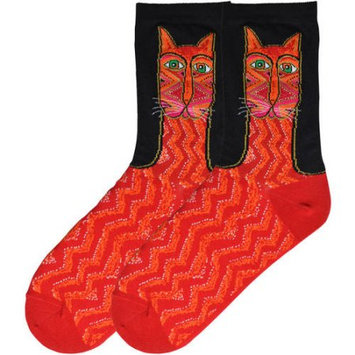 K Bell Laurel Burch Socks-Tribal Zig Zag Cat - Red