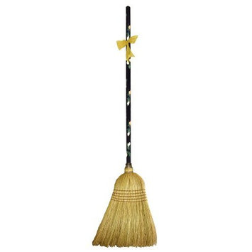 Cute Tools Garden Broom - Landscaping Instrument, Sweep and Dust With This Garden Accessory, Hand Painted Wooden Broomstick In The USA, Durable Yard and Gardening Equipment From CuteTools! - Art For A Cause, Yellow Floral