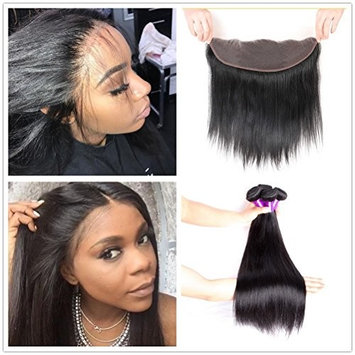 JiSheng Brazilian Straight Hair 3Bundles With Frontal 100% Unprocessed Virgin Human Hair Weave With 13 x4 Ear to Ear Lace Frontal Closure Natural Color