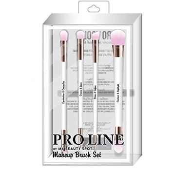 Pro Line By My Beauty Spot Double Ended, Rose Gold & White Makeup Brush Set With Light Pink Bristles