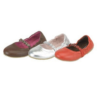 Brown Silver Red Ballet Style Slip On Toddler Little Girls Shoes 5-4