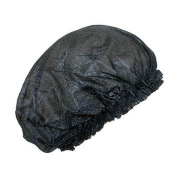 CTM Women's Satin Jumbo Hair Roller Sleep Cap with Elastic, , Size: one size Black