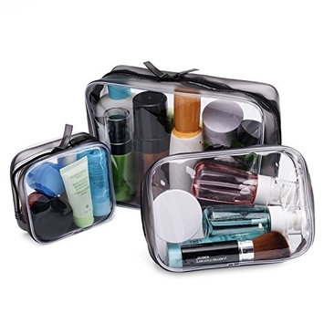 Transparent Makeup Bag for Travel, Clear PVC Plastic Cosmetic Bag Kit Portable Waterproof Toiletry Organizer Vacation Accessories for Women Men