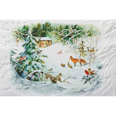 Pack of 16 Winter Nativity Fine Art Embossed Deluxe Christmas Greeting Cards