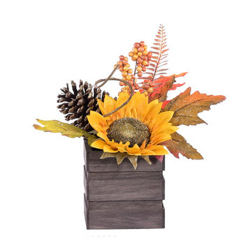 Be Thankful Floral Sunflower Square Crate