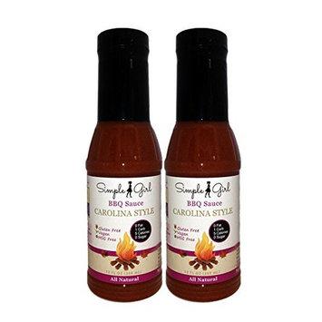 Simple Girl Organic Carolina Kick BBQ Sauce - 12oz - 2 Bottles - Low Calorie - Sugar-Free Diabetic/Vegan Friendly - Gluten/Fat/MSG Free - Vinegar Based - Compatible with Most Diet Plans